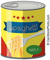 Spaghetti in food can illustration