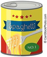 Spaghetti in food can illustration