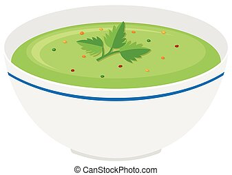 Bowl of vegetable cream soup illustration