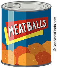 Canned food with meatballs inside illustration