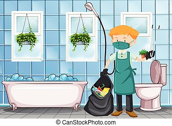 Male janitor cleaning the toilet illustration
