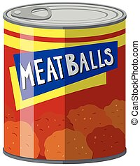 Meat balls in food can illustration