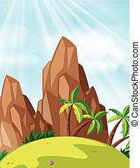 Scene with mountains and coconut trees