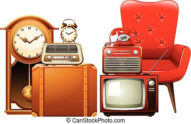 Different types of vintage furnitures illustration