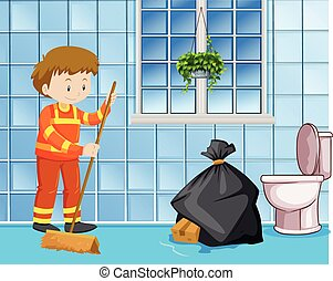 Janitor cleaning wet floor in toilet illustration