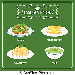 Italian food on menu with green background illustration