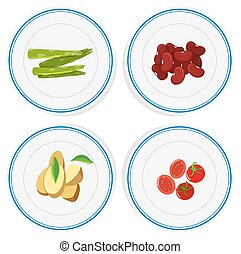 Different vegetables on round plates illustration