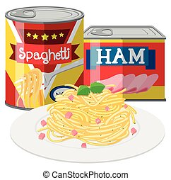 Spaghetti and ham in canned food illustration