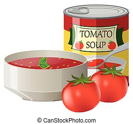 Fresh tomatoes and tomato soup in can illustration