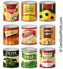 Different types of food in can illustration