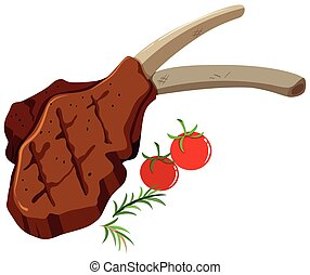 Lamb chop and tomatoes on white illustration