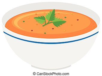 Bowl of pumpkin soup illustration