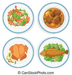 Set of different food on round plates illustration