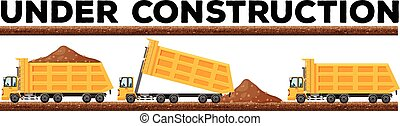 Underconstruction scene with three dump trucks illustration