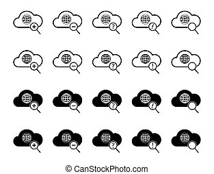 cloud computing icon set, each icon is a single object...