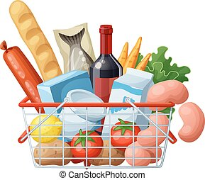 Grocery basket full of food isolated on white background. Cartoon vector illustration