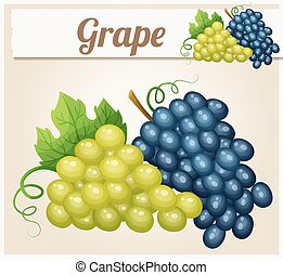 White and blue grape bunches. Cartoon vector icon. Series of...