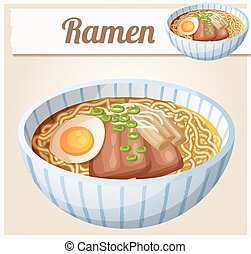 Japanese ramen soup Cartoon vector icon. Series of food and...