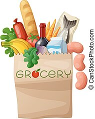 Grocery bag isolated on white background. Cartoon vector...