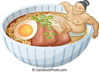 Japanese ramen soup and man is bathing in bowl. Cartoon...