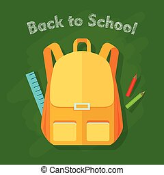 Back to School. Yellow Backpack. Office Supplies - Back to...