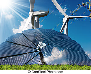 Solar Panel - Wind Turbines - Power Line - Solar panel with...