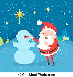 Santa Claus near Snowman. Winter. Evening. City - Santa...