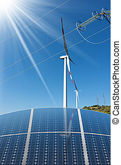 Solar Panels - Wind Turbines - Power Lines - Group of solar...