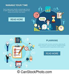 Time Management Banners Set - Time control horizontal...