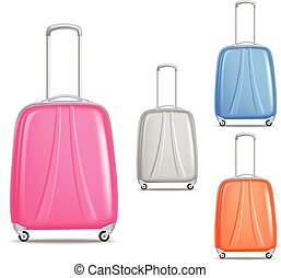 Lightweight Colorful Plastic Travel Luggage Set - Modern...