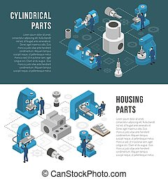 Heavy industry Production 2 Isometric Banners - Heavy...