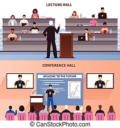 Lecture And Conference Hall Banner Set
