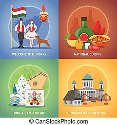 Hungarian Culture Compositions Set - Four hungary flat...