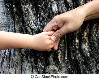 segurando, mão