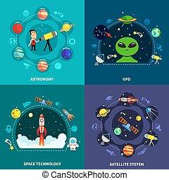 Space Exploration Concept Icons Set - Space exploration...