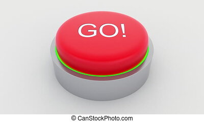 Big red button with go inscription being pushed. Conceptual...