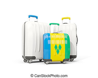 Luggage with flag of saint vincent and the grenadines. Three...
