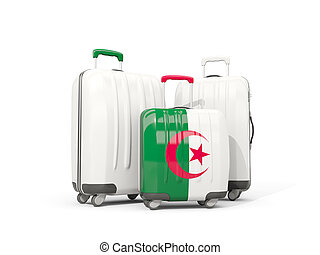Luggage with flag of algeria. Three bags isolated on white