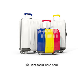 Luggage with flag of chad. Three bags isolated on white