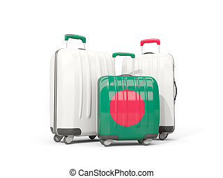 Luggage with flag of bangladesh. Three bags isolated on white