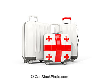 Luggage with flag of georgia. Three bags isolated on white