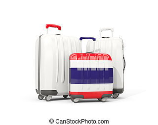 Luggage with flag of thailand. Three bags isolated on white