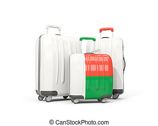 Luggage with flag of madagascar. Three bags isolated on white