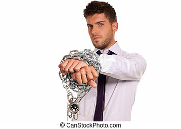 Businessman chained with padlock, job slave symbol, isolated...