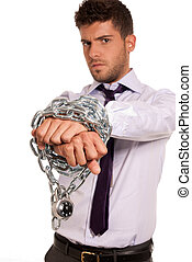 Businessman chained with padlock, job slave symbol, isolated on white background