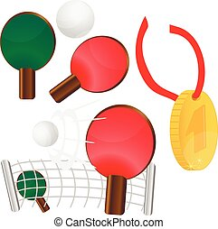 table tennis. ping pong. Gold medal for first place, vector...