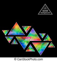 Iridescent Triangles Design Element for the Dark Background....