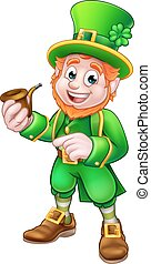 Leprechaun St Patricks Day Illustration - Cartoon Leprechaun...
