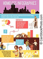 Homeless People Infographics - Infographics with silhouette...