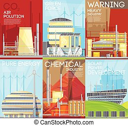 Air Pollution Warning Ecological Composition Poster - Green...